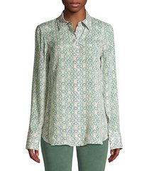 scottie leaf-print silk-blend blouse