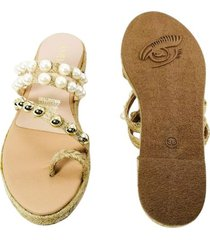 sandalia plana lucia perlas dorada