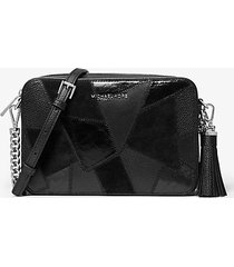 mk borsa a tracolla jet��set media in pelle effetto patchwork - nero (nero) - michael kors