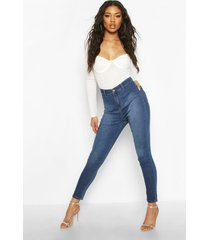 super high rise power stretch disco jegging, mid blue