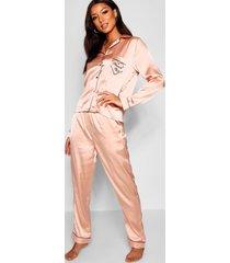 satijnen pyjama-set met brunch club embleem, roségoud