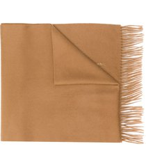 mackintosh camel cashmere embroidered scarf acc-013/e - brown