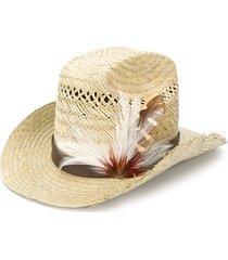 saint laurent feather embellished cowboy hat - brown