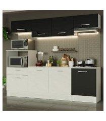 cozinha completa madesa onix 240003 com armario e balcão branco/preto 0977 branco/preto/branco