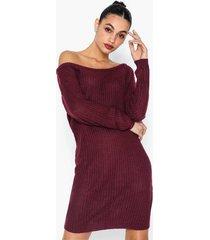 missguided off shoulder jumper dress långärmade klänningar