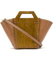 framed wood paneled tote bag - brown