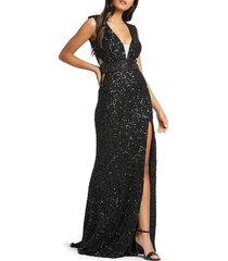 mac duggal women's side-cutout sequin gown - black - size 4