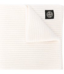 stone island ribbed-knit wool scarf - white