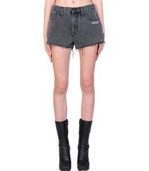 off-white denim short shorts in black denim