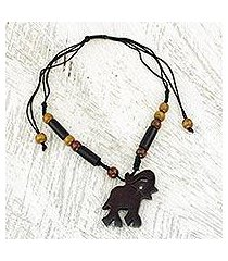 ebony and bamboo pendant necklace, 'trumpeting african elephant' (ghana)