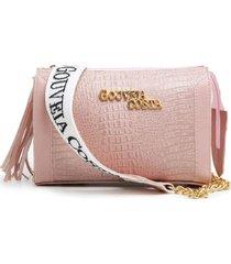 bolsa gouveia costa  baú pingente alça transversal dia a dia rosa