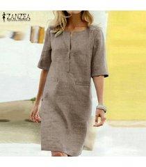zanzea verano de las mujeres de manga corta con cuello en v vestido de las señoras de midi sueltos vestidos de la camiseta plus -caqui