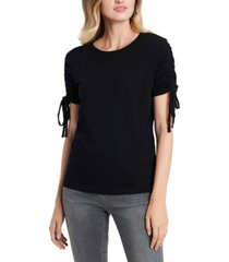 1.state ruched tie-sleeve cotton top