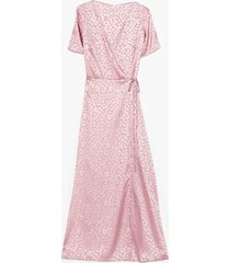 womens jacquard at work satin midi dress - pink