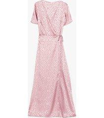 womens jacquard at work satin midi dress - pink