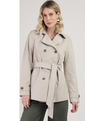 casaco trench coat feminino transpassado com faixa para amarrar kaki claro