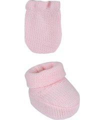 conjunto bebê sapatinho e luva tricot- 02 peças