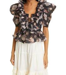 women's ulla johnson fannie floral puff sleeve tie plunge top, size 10 - black