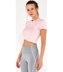 t-shirt alto giro rib santorini cropped rosa 2112731 rosa