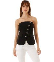 corselet aha alfaiataria transpassado com botões preto
