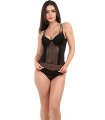 corpete imi lingerie corset corselet com bojo em microfibra e renda fio duplo milla preto - preto - feminino - dafiti
