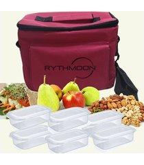 kit bolsa térmica tipo keeppack pink + 6 refeições rythmoon