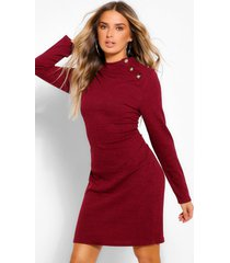 button shoulder high neck mini bodycon dress, plum