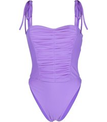 amen ruched tied-strap swimsuit - purple