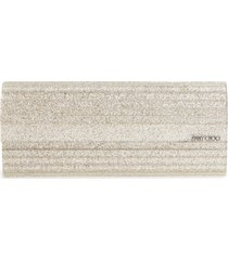 jimmy choo sweetie glitter acrylic clutch - metallic