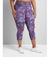 lane bryant women's livi high-rise livi soft capri legging with pockets 38/40 belle floral print