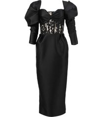 black off-shoulder lace and satin dress