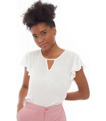 blusa con boleros color blanco, talla l
