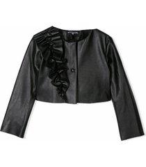 monnalisa black ruffle detail jacket