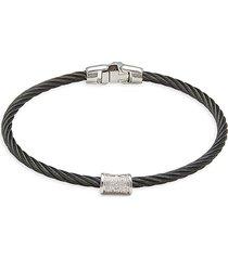 alor women's black cable, 18k white gold & diamond bracelet