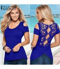 zanzea verano mujeres hueco del hombro de manga corta casuales empalme del cordón del ganchillo de la blusa sin espalda de split tanque tops (azul) -azul