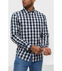 jack & jones jjegingham shirt l/s noos skjortor vit/blå