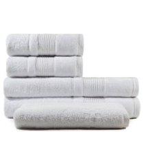 jogo de toalhas de banho 5 peças fio penteado appel splendore branca,