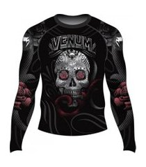 rash guard venum skull and roses - manga longa
