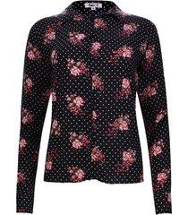 camisa flores y puntos color negro, talla s