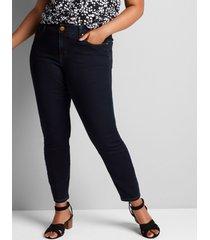 lane bryant women's signature fit sateen skinny jean - dark wash 30/32 dark denim