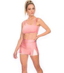 shorts saia bonna forma fitness rosa - rosa - feminino - dafiti