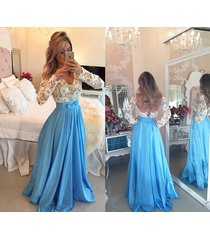 long sleeves ice blue prom dresses,open back lace evening dresses 2016