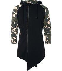 asymmetric camo panel zip up hoodie