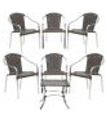 jogo cadeiras 6un e mesa de centro pinheiro para edicula jardim area varanda descanso - pedra ferro