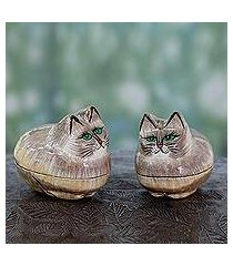 papier mache boxes, 'contented kitties' (pair) (india)