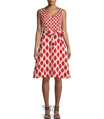 abstract faille fit-and-flare dress