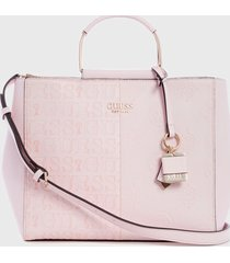 cartera satchel denim  rosado guess