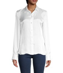 theory women's fitted satin shirt - white - size l