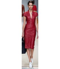 new women sexy genuine lambskin leather evening cocktail ladies party dress-gd35