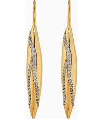 orecchini a goccia a buco gilded treasures, bianco, placcato color oro